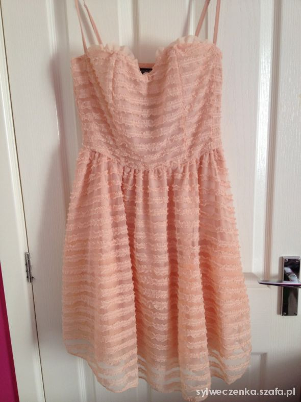 atmosphere pudrowa sukienka 44 rozkloszowana