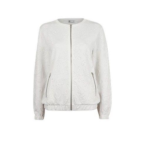 Biały bomber jacket bluza kurtka CUBUS wzór