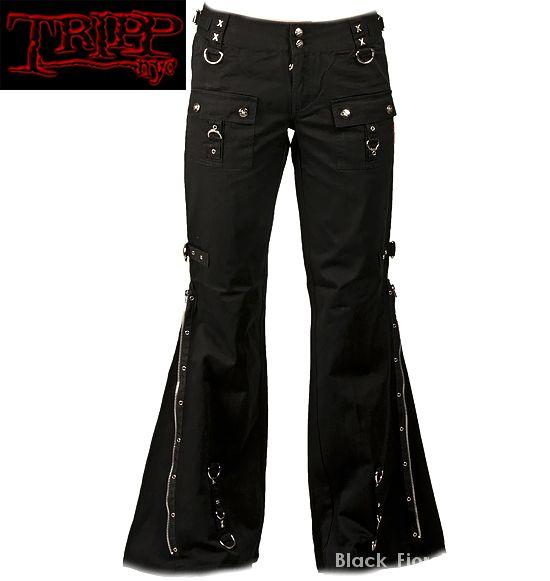 TRIPP NYC czarne spodnie bojówki z zamkami d ring