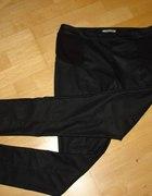 spodnie czarne wstawki skóra