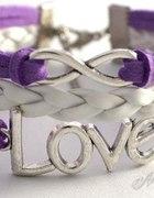 Bransoletka INFINITY LOVE fioletowo biała rzemyki