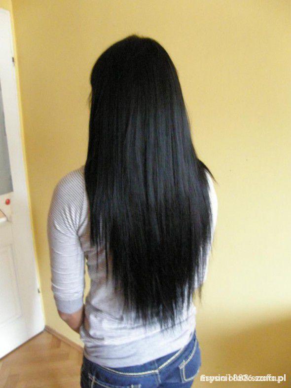 Pozostałe Czarne doczepiane włosy clip in 3 taśmy 50 cm