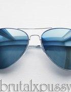 NOWE okulary AVIATOR vintage retro LUSTRZANE srebr