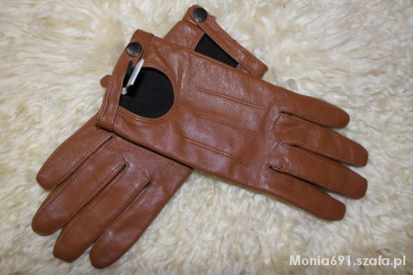 reserved brązowe rękawiczki skóra naturalna