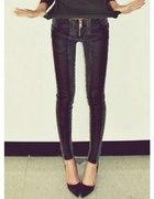 spodnie jeans skóra zip