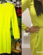 Limonkowa sukienka H&M