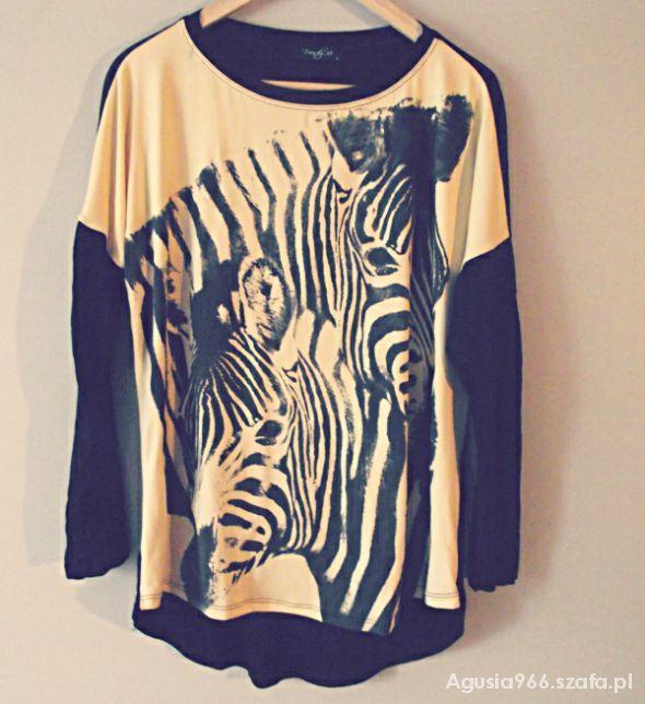 Bluzki zebra oversize nadruk