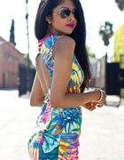 Sukienka Zara odkryte plecy kolorowa