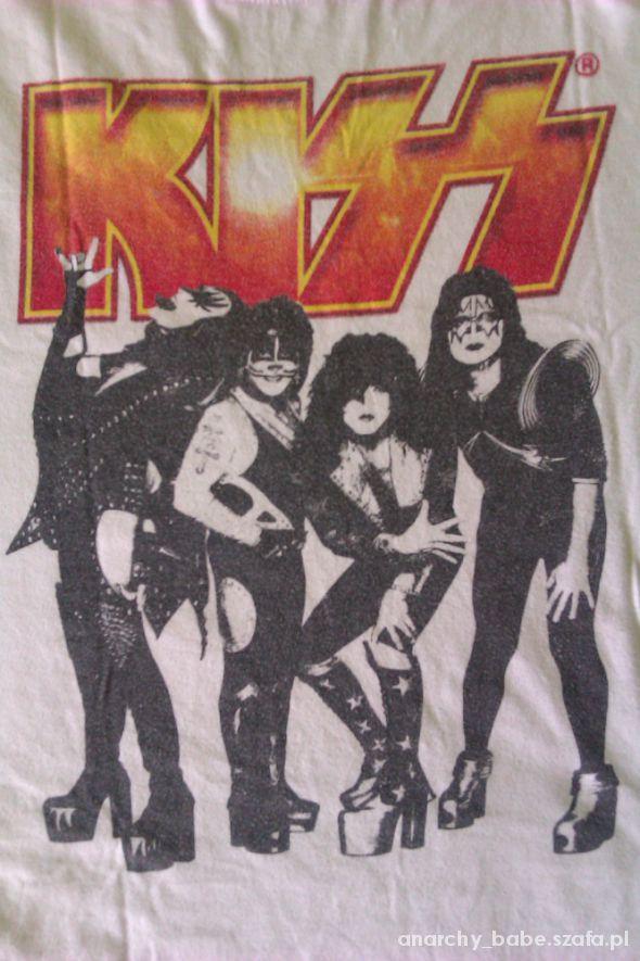 KISS biała koszulka band logo