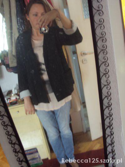 Mój styl Marynarka bluzka z nadrukiem i jeansy