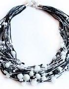 biżuteria lniana naszyjnik czarny z białym...