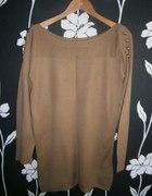 Sweter Carmel złote guziki rozm L