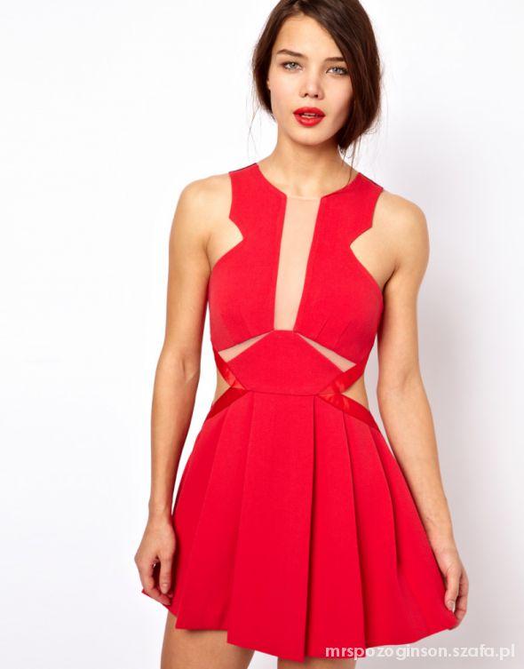 Romantyczne Czerwona Sukienka Wycięcia