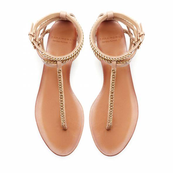 sandały sandałki ZARA złote łańcuszek 39