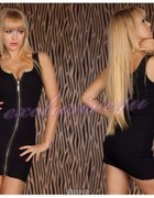 Czarna sexi mini sukienka koronka złoty zip S M