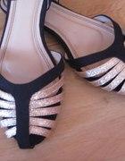 nowe czarnozłote sandalki płaskie ala zara