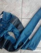 jeansy ze skorzanymi wstawkami