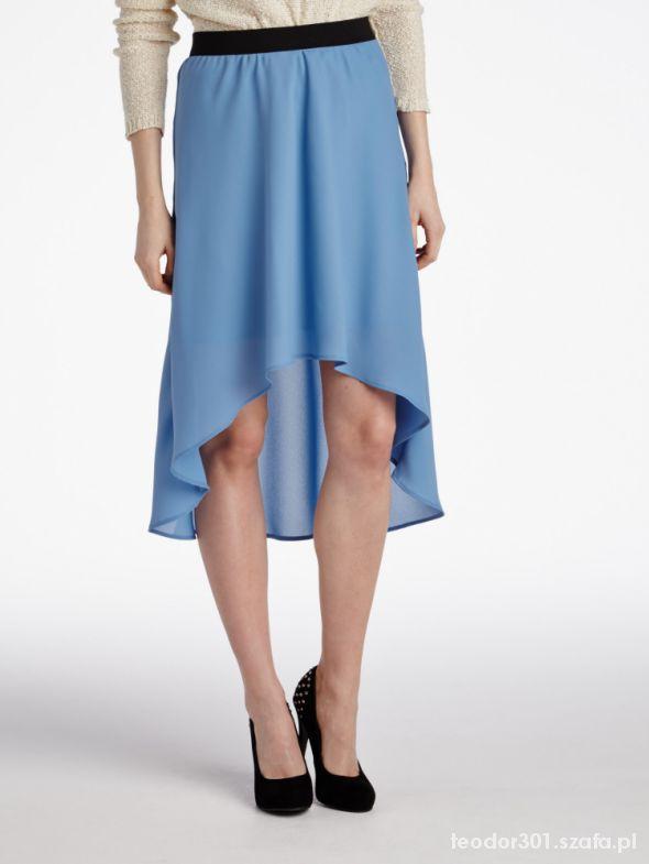 reserved asymetryczna niebieska spódnica...