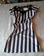 Sukienka tunika czarno biała koronka