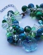 Bransoletka bogato zdobiona zielono morska
