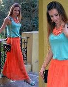 Pomarańczowa maxi spódnica