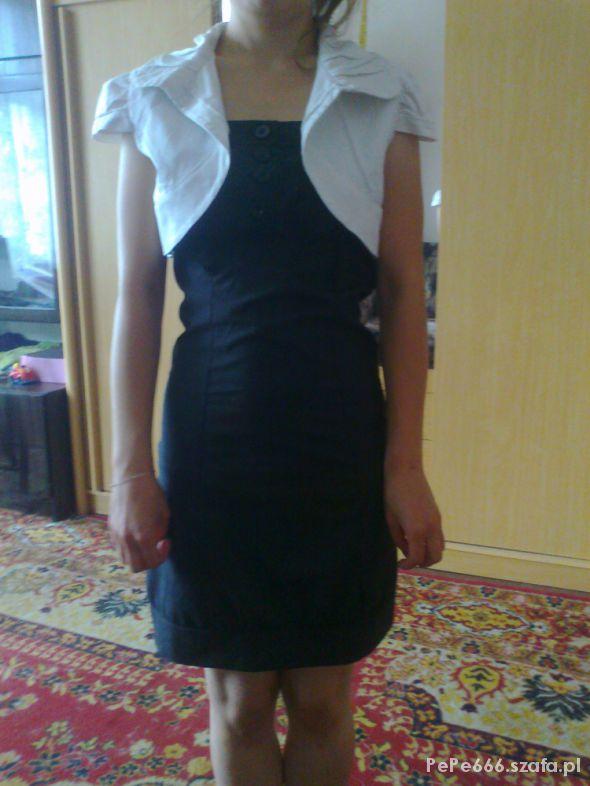 03f5ab7719 czarna sukienka z białym bolerkiem w Suknie i sukienki - Szafa.pl