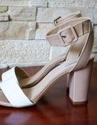Zara sandały beżowo białe
