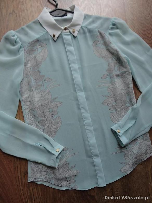 Bluzka koszula miętowa szyfon mgiełka