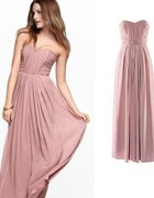 H&M maxi pudrowa Nude By night