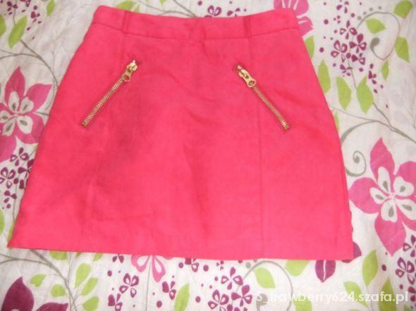 Spódnice różowa spódnica złote zamki wysoki stan