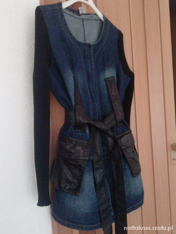 Odzież wierzchnia płaszcz jeans skóra versace