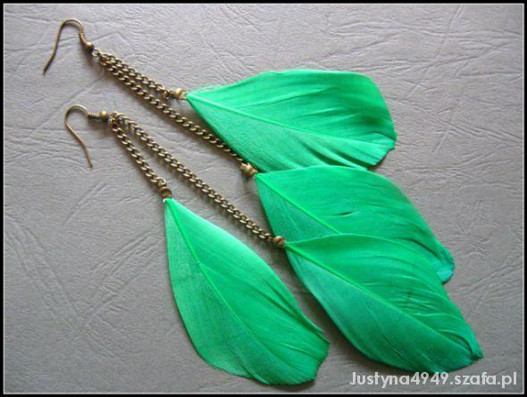 Kolczyki piórka zielone vintage