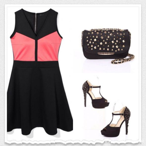 MOHITO sukienka klosz NEON RÓŻ czarna PRINCESKA