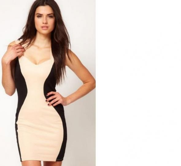 d8de3146f Wyszczuplająca dwukolorowa sukienka czerń biel w Suknie i sukienki ...