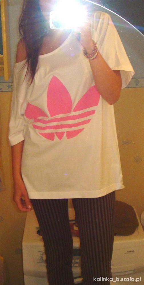 biały off shoulders z różowym logo adidas DIY