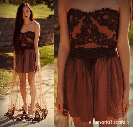 Piękna koronkowa sukienka TRANSPARENTA spódnica