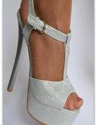 Roz 37 Imprezowe srebrne Sandały sandałki