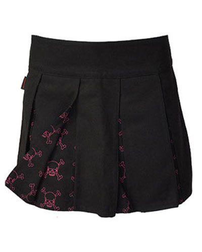 Spódnice Darkside Pink Outline Skull Pleated Skirt 10