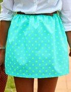 spódnica spódniczka neon turkus grochy groszki...
