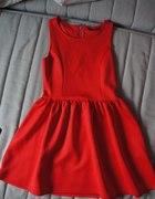 czerwona rozkloszowana sukienka h&m 36 34