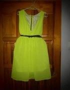 neon dress zip szyfon