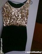 Wieczorowa sukienka ze złotymi cekinami