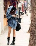 ulubione kurtka na jesien jeans retro duży kaptur