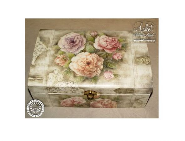 decoupage szkatułka na bizuterię kwiaty floral