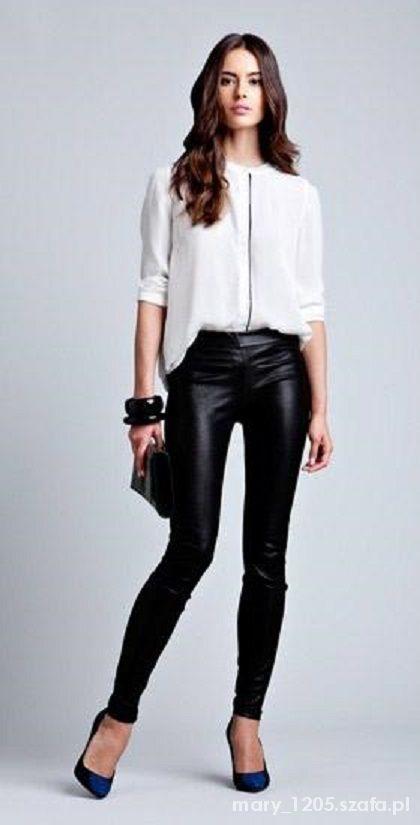 1b76012c8e biała klasyczna koszula oraz czarne skórzane rurki w Ubrania - Szafa.pl