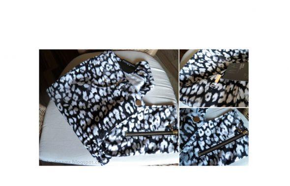 Spodnie zip 7 8 czarno białe panterka hm