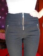Spodnie wysoki stan zip z przodu