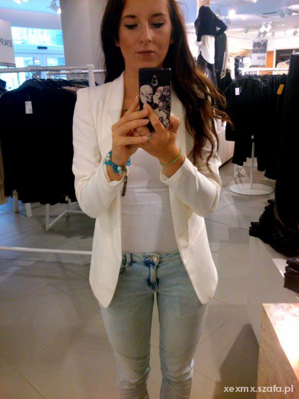 biała marynarka H&M