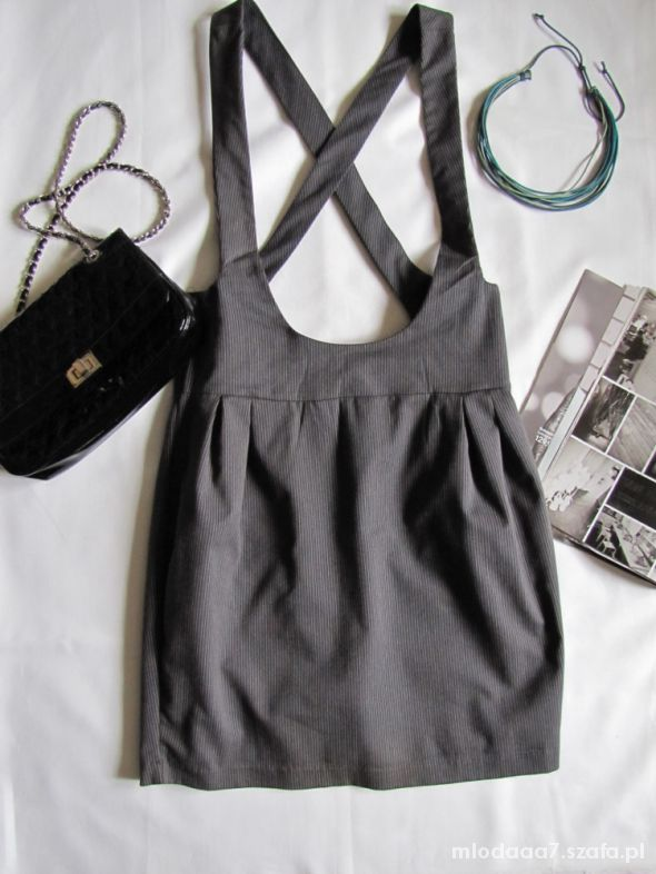 Spódnice Spódnica na szelki szaro czarna