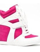 sneakersy trampki na koturnie róż biel